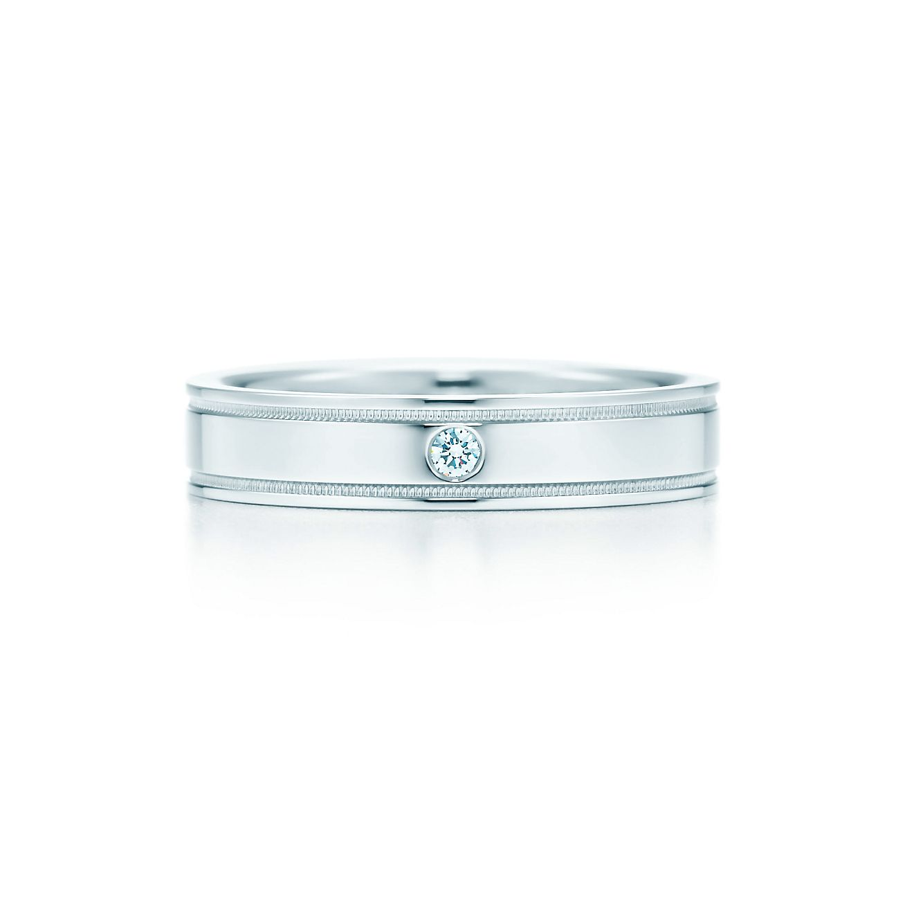 Tiffany Flat Double Milgrain Wedding Band Ring In Platinum With A Diamond