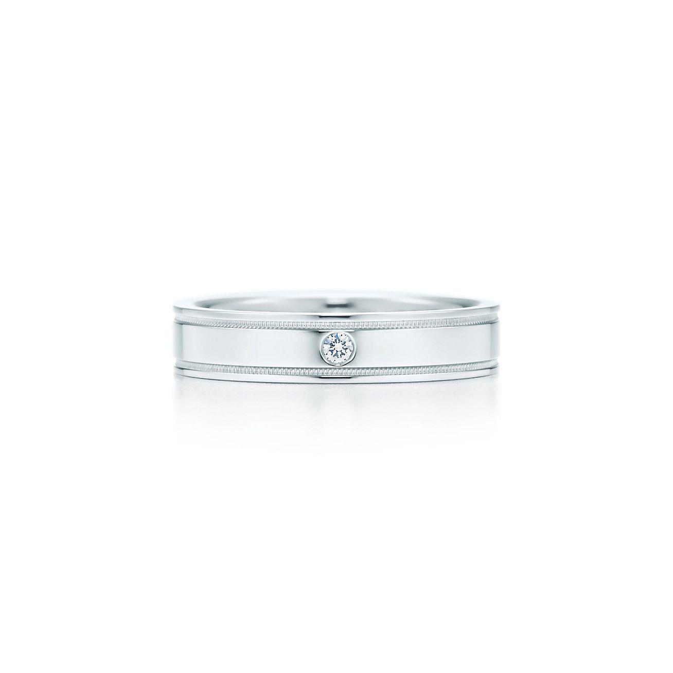 Tiffany flat double milgrain wedding band ring in platinum with a tiffany flat double milgrain wedding band ring in platinum with a diamond tiffany co junglespirit Images