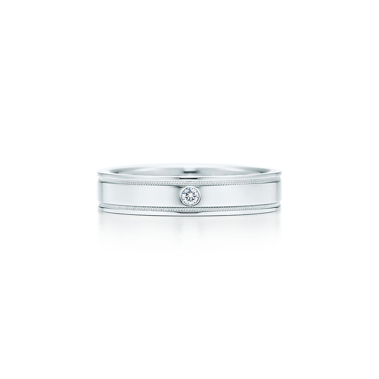 Tiffany Flat Double Milgrain Wedding Band Ring In Platinum With A Diamond Co