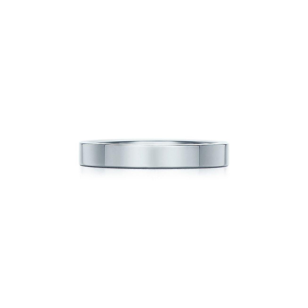tiffany flat wedding band ring in platinum 3 mm wide tiffany co - Wedding Band Ring