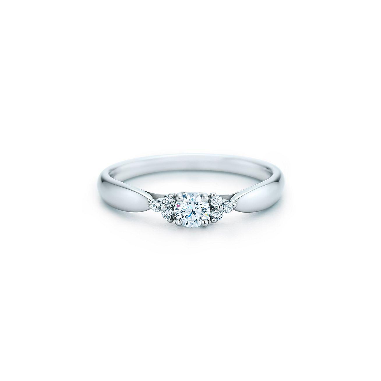 Tiffany Harmony™ diamond ring with side stones in platinum ...