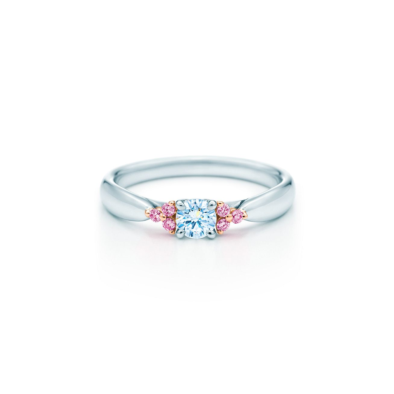 Tiffany Harmony Fancy Pink diamond side stone ring in rose gold