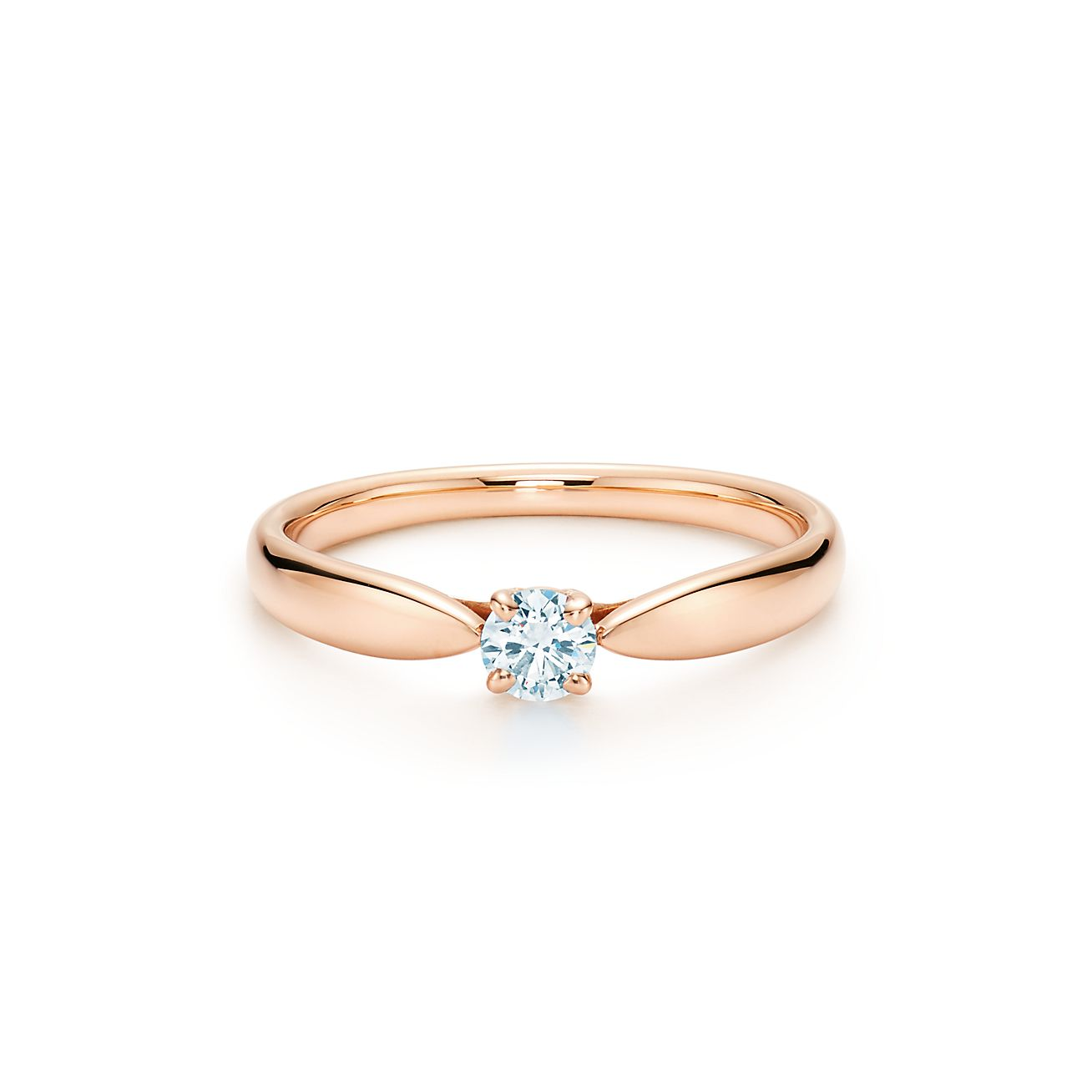 Tiffany Harmony ring in 18k rose gold with a round brilliant