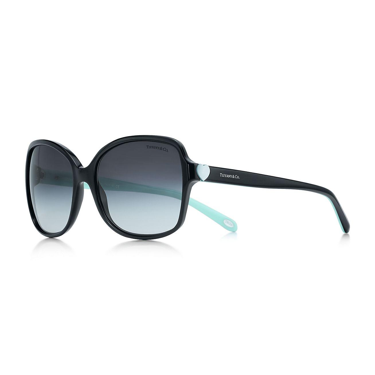 Tiffany Hearts™ square sunglasses in black and Tiffany ...