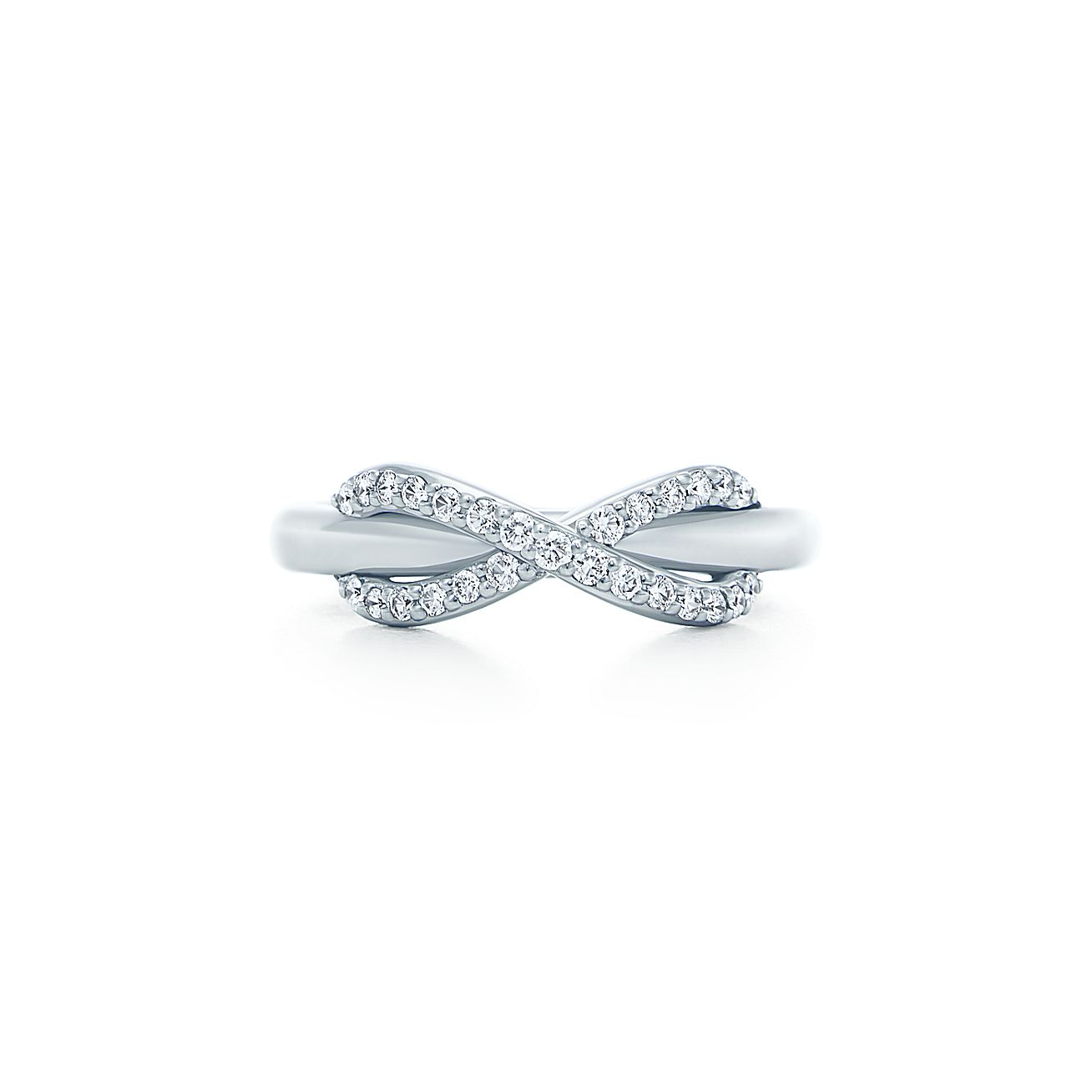 Tiffany infinity 18k white gold ring with diamonds for Infinity ring jewelry store