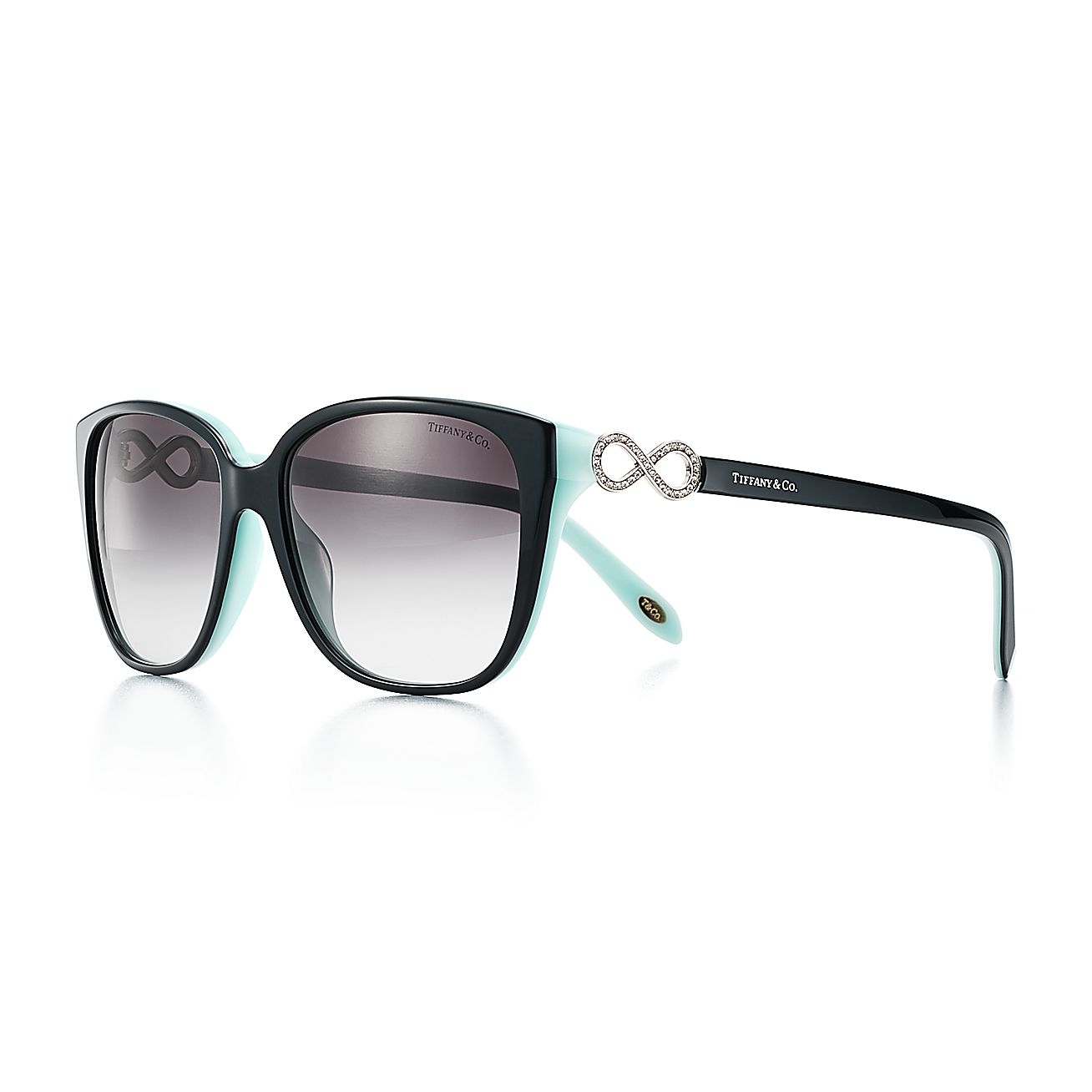a66f01cdc662 Tiffany Infinity square sunglasses in black and Tiffany Blue® acetate.