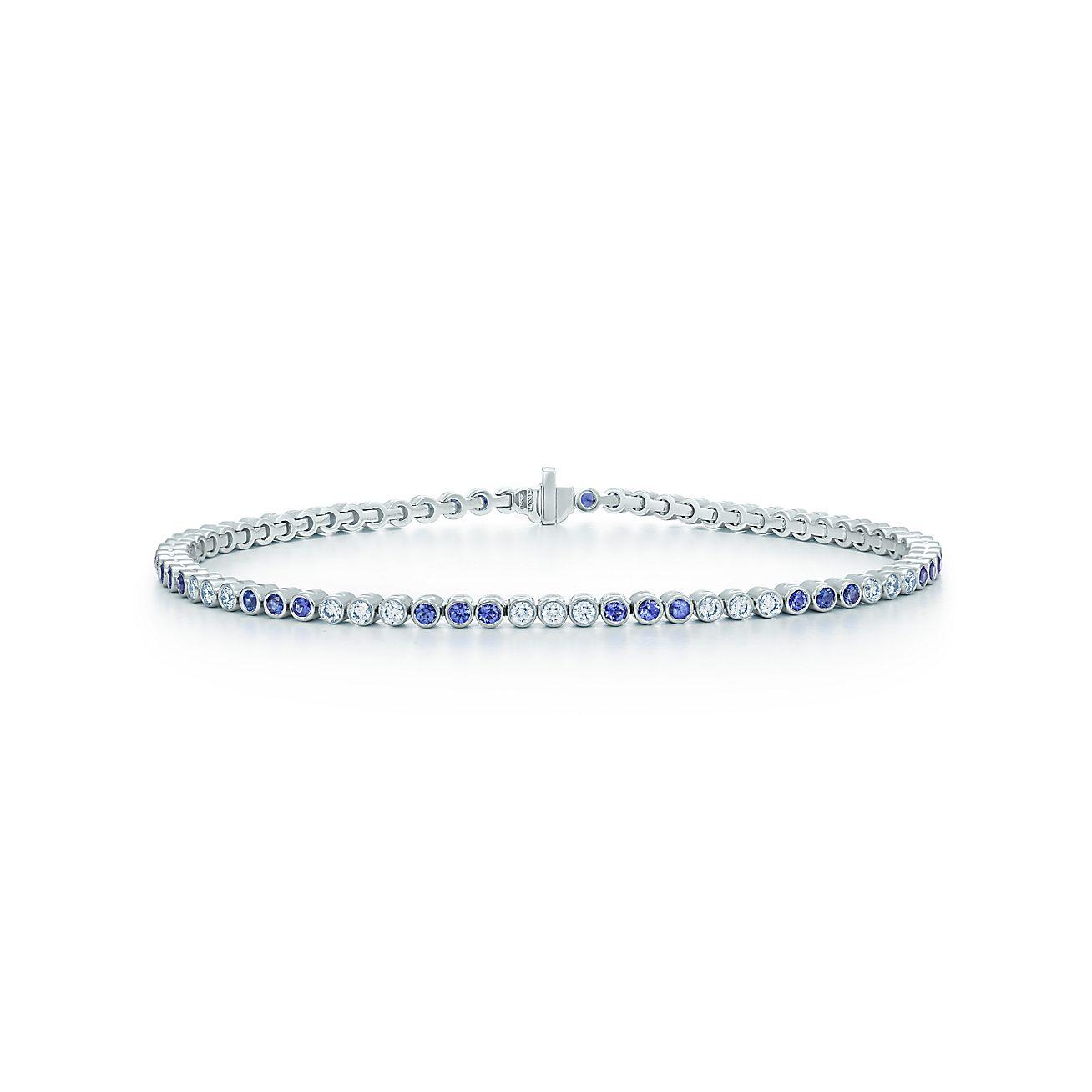 Tiffany Jazz® bracelet in platinum with diamonds and sapphires ...