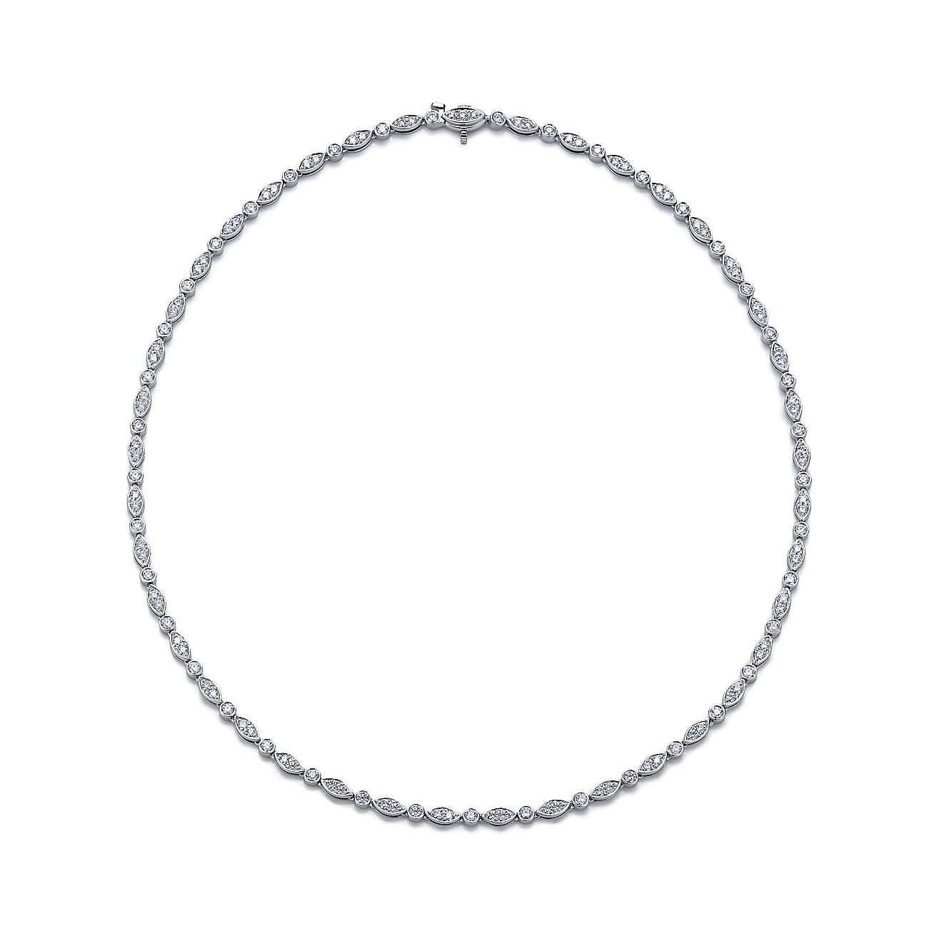 Tiffany Jazz™ necklace in platinum with round brilliant
