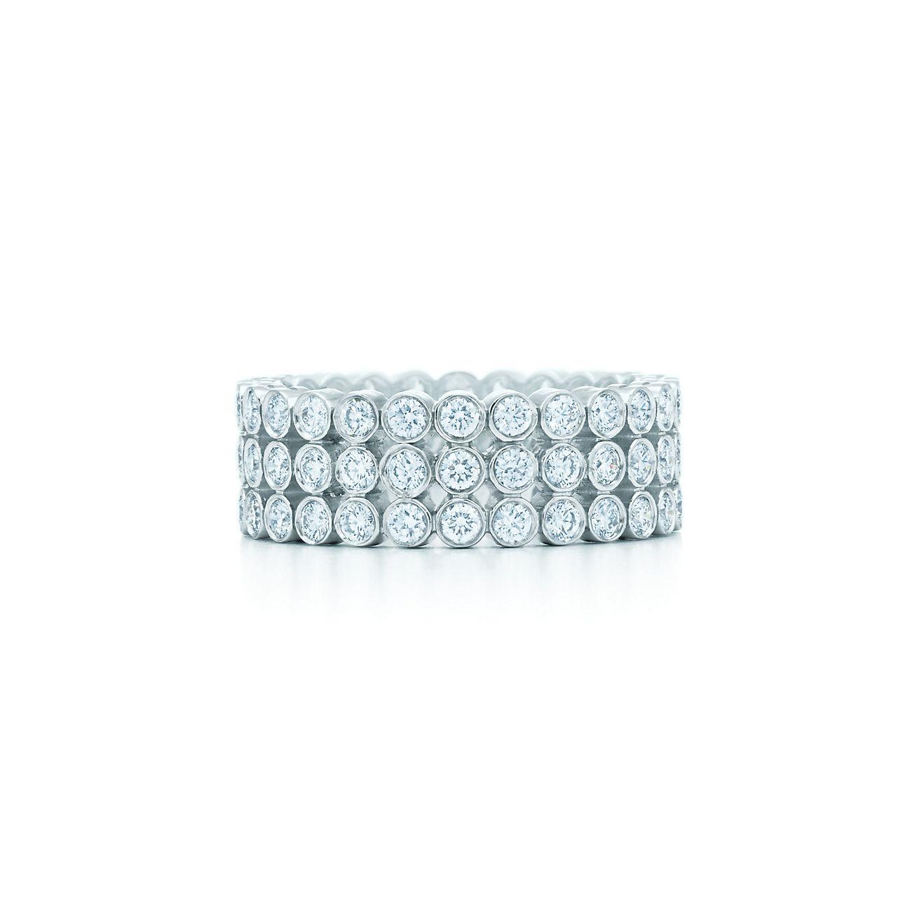 Tiffany Jazz™ three row diamond ring in platinum