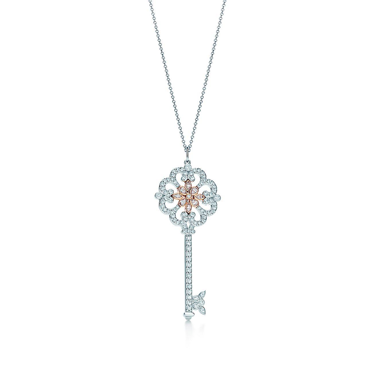 Tiffany Enchant Primrose Key Pendant in platinum and rose ...