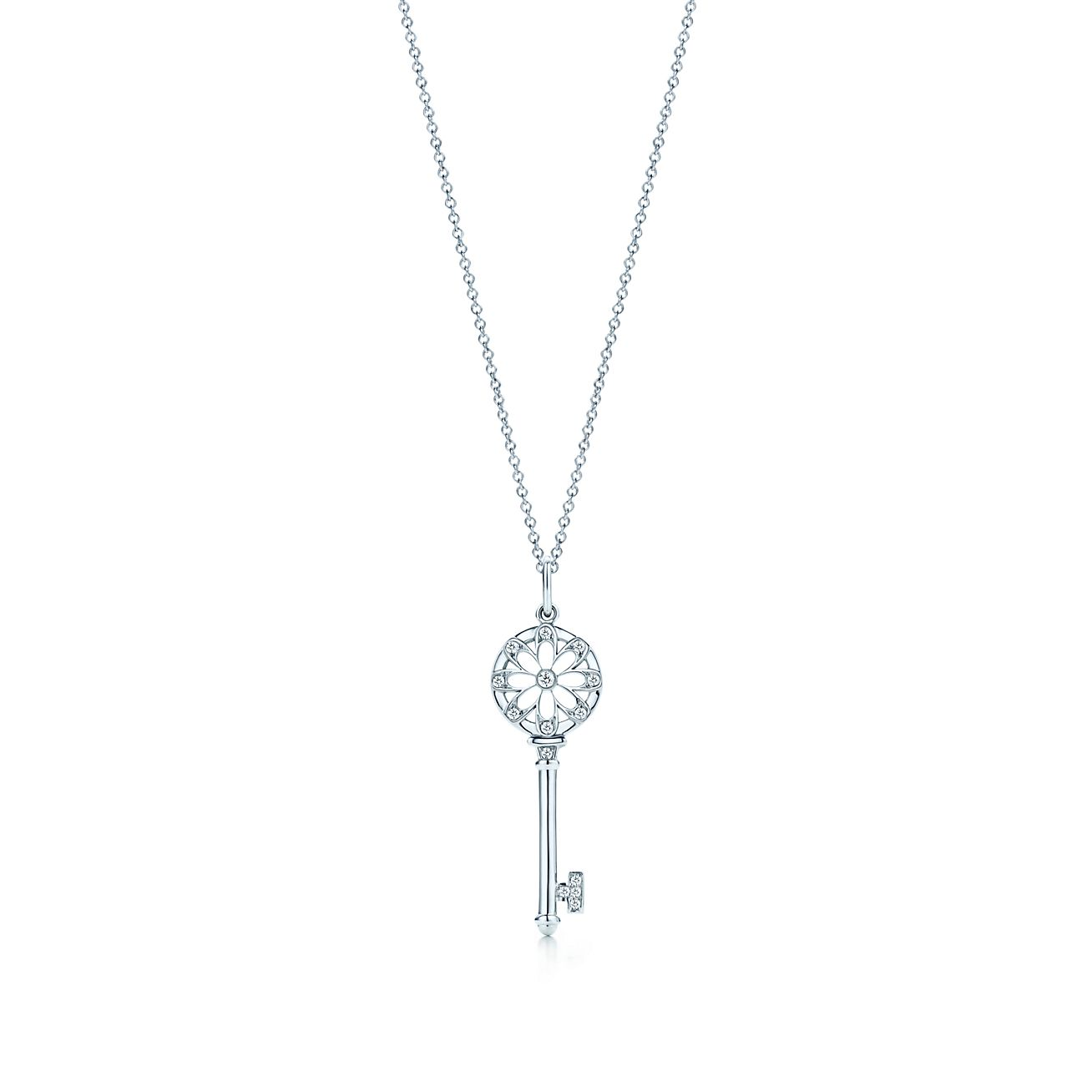 Tiffany Keys floral key pendant in 18k white gold with ...