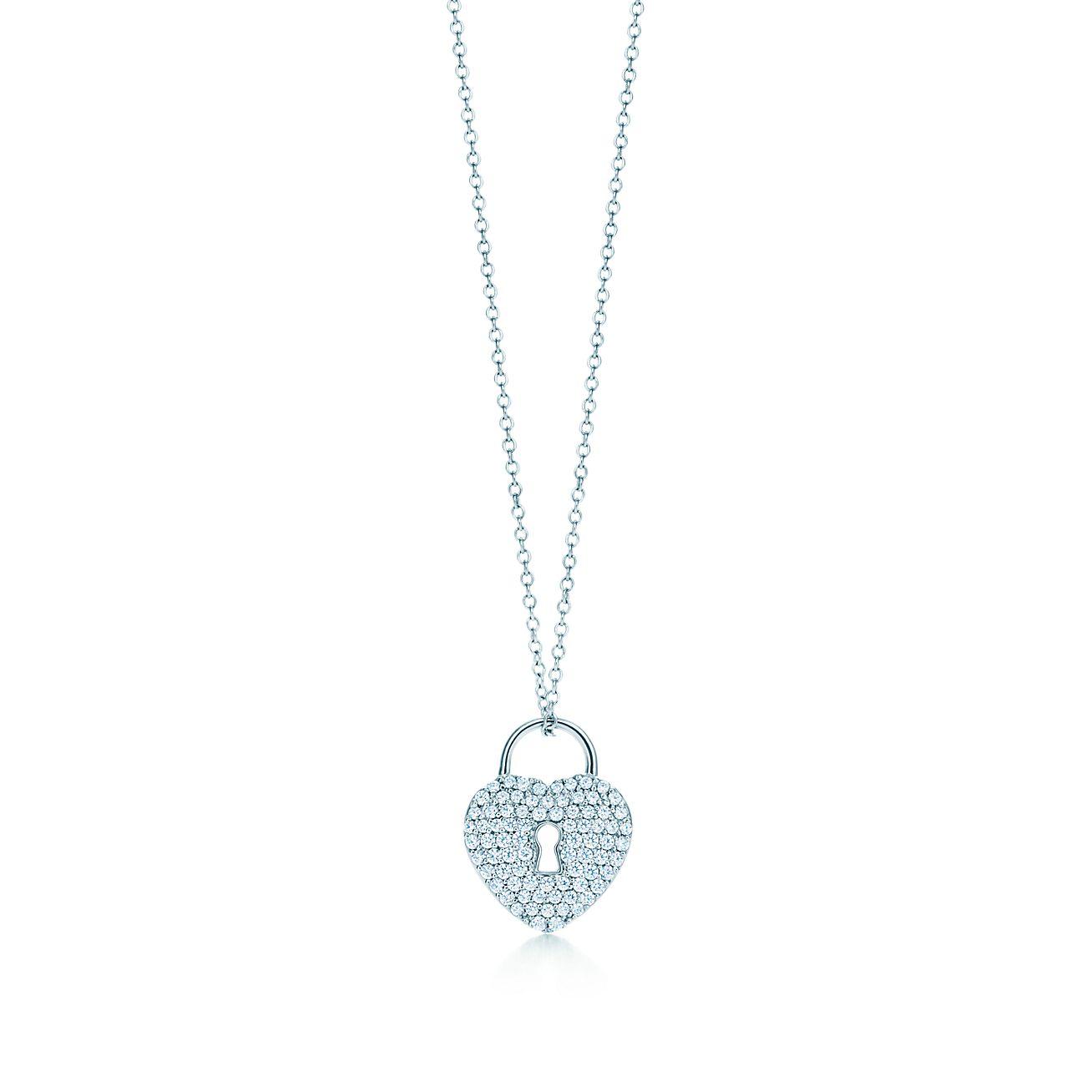 Tiffany locks heart lock pendant in platinum with diamonds on a 16 tiffany locksheart lock pendant aloadofball Gallery