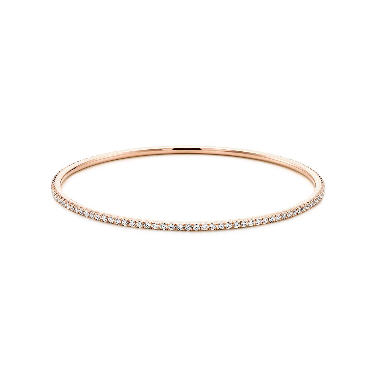 bracelet jonc tiffany metro en or rose 18 carats et diamants medium tiffany co. Black Bedroom Furniture Sets. Home Design Ideas
