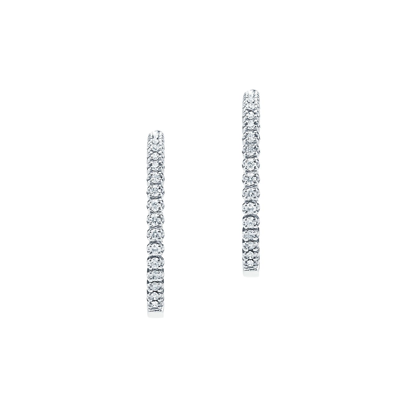 deb574be8 ... tiffany metro hinged hoop earrings in 18k white gold with diamonds  small. tiffany co. ...