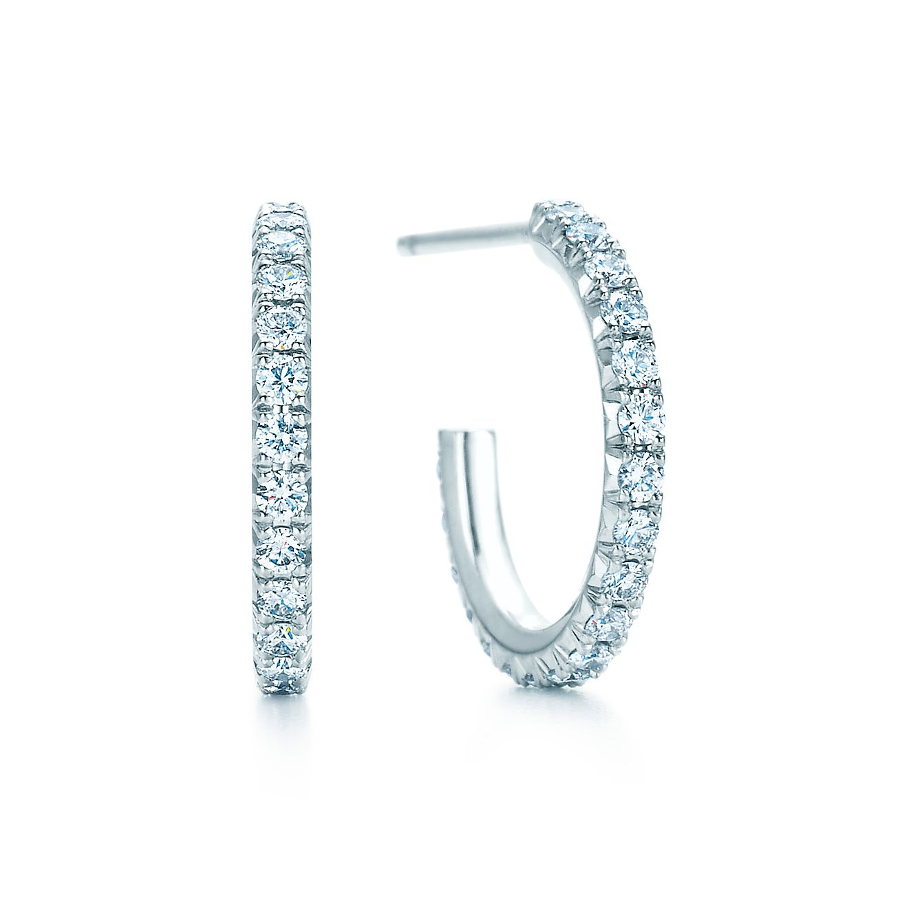 tiffany metro hoop earrings in 18k white gold with