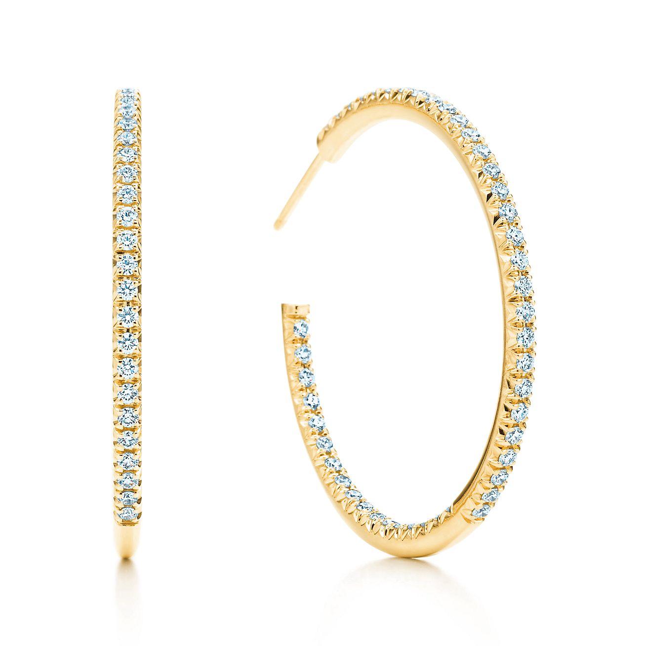 tiffany metro hoop earrings in 18k gold with diamonds