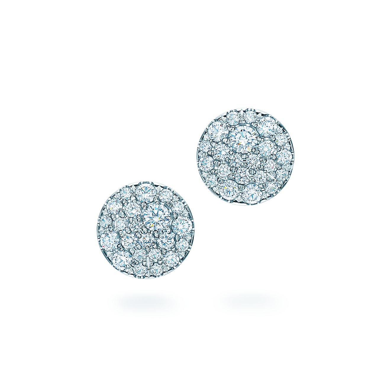 Tiffany Metro Round Earrings In 18k White Gold With