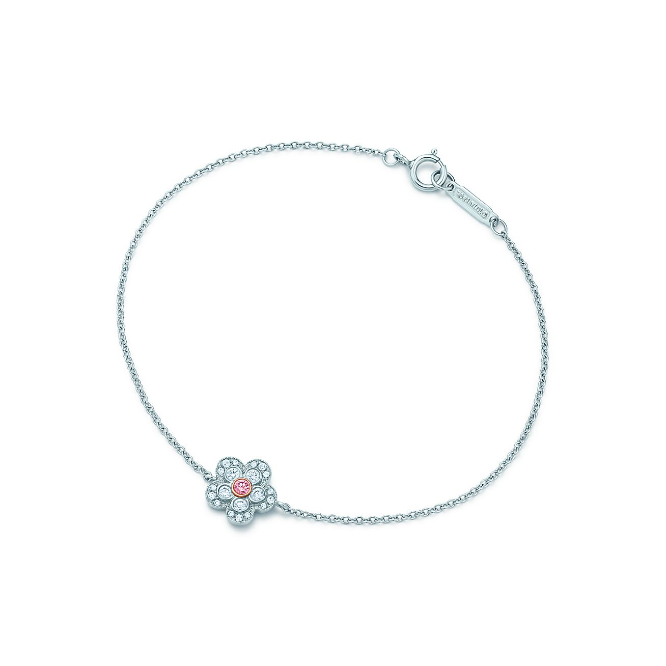 Tiffany Pink Diamond Flower Bracelet In Platinum And Rose