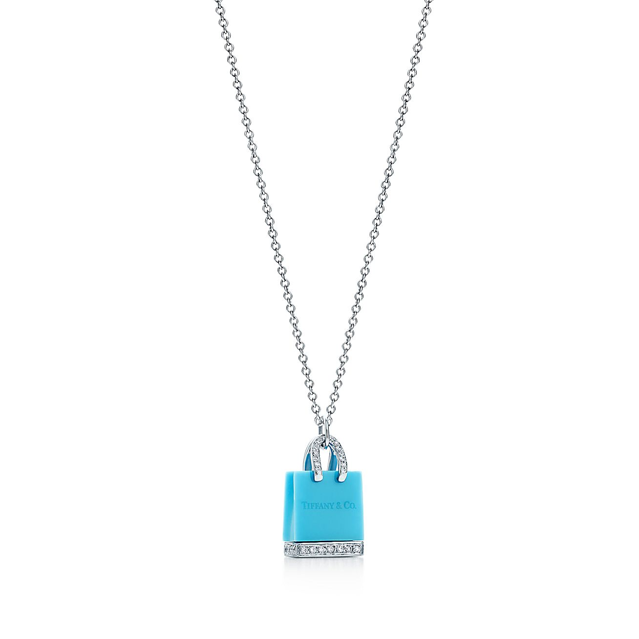 Tiffany Shopping Bag Pendant With Turquoise And Diamonds In Platinum