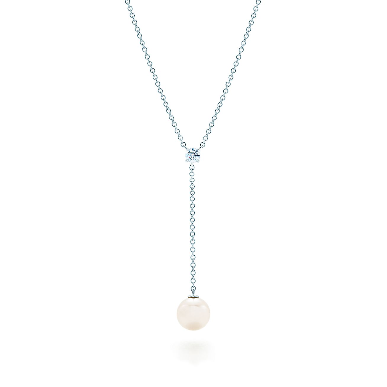 Tiffany signature drop pendant in 18k white gold with a pearl and tiffany signature drop pendant in 18k white gold with a pearl and a diamond tiffany co mozeypictures Gallery