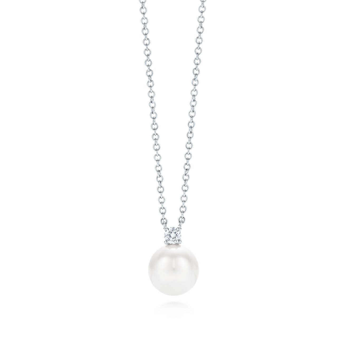 Tiffany signature pendant in 18k white gold with an akoya pearl and deletelarge tiffany signaturepearl pendant mozeypictures Gallery
