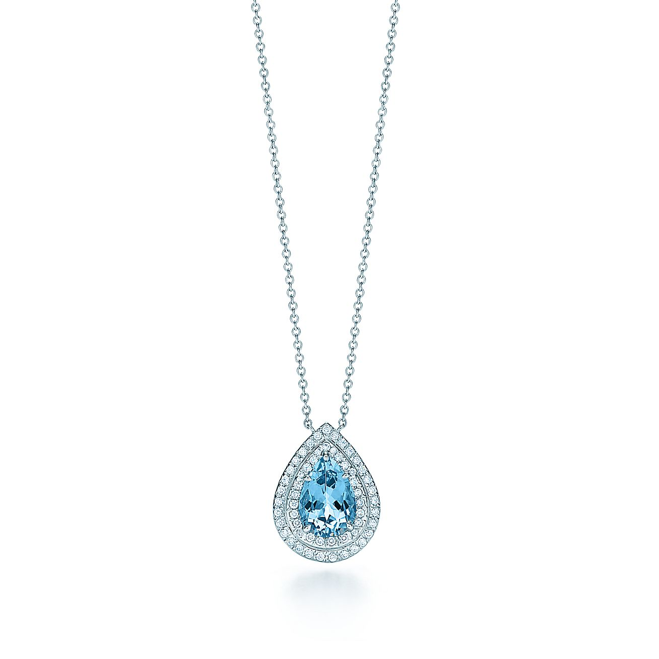 Tiffany SolesteR Pendant In Platinum With An Aquamarine And Diamonds