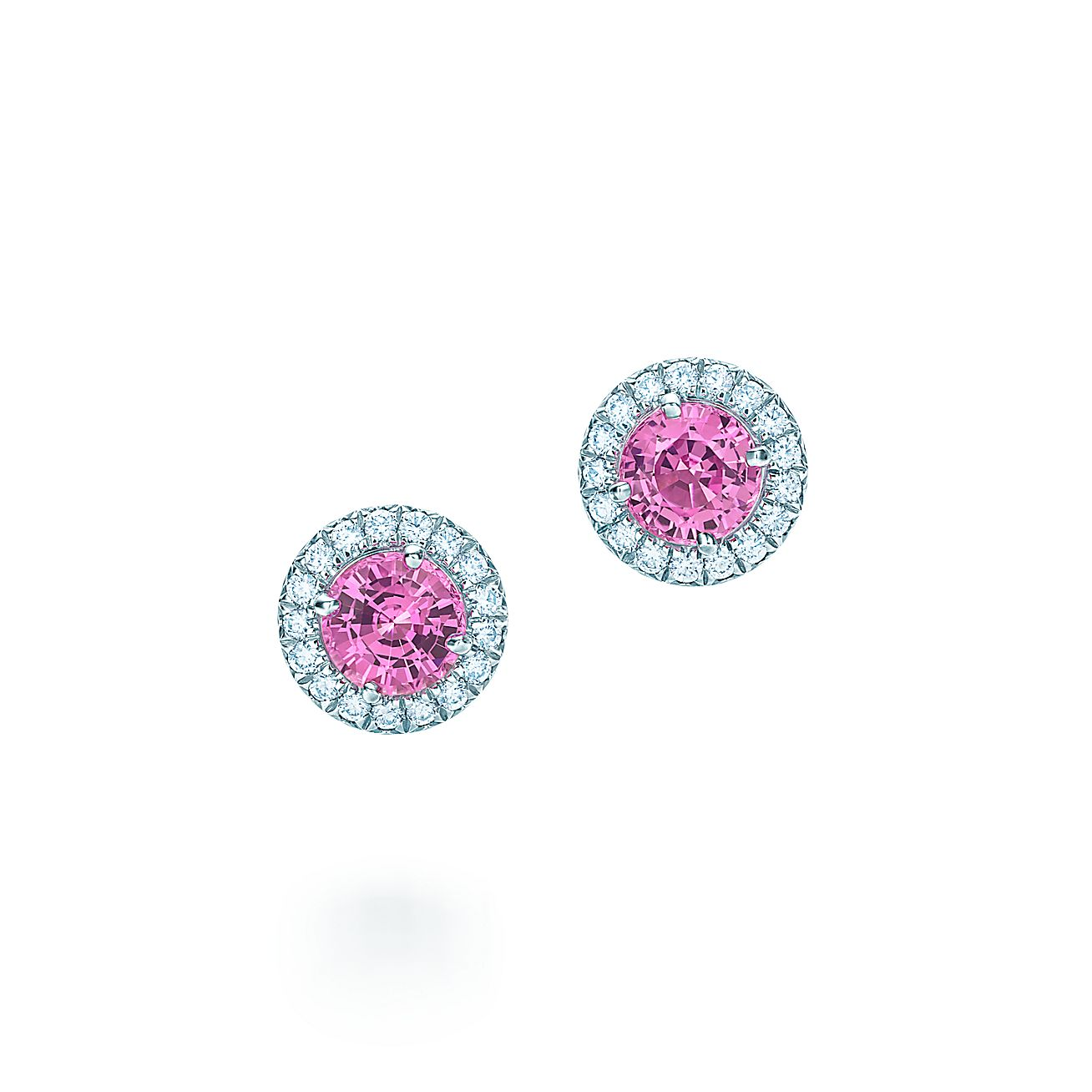 Tiffany Soleste® Earrings In Platinum With Pink Sapphires And Diamonds   Tiffany & Co