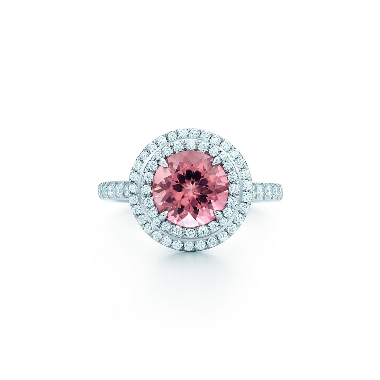 Tiffany Soleste Ring In Platinum With Diamonds And A Pink