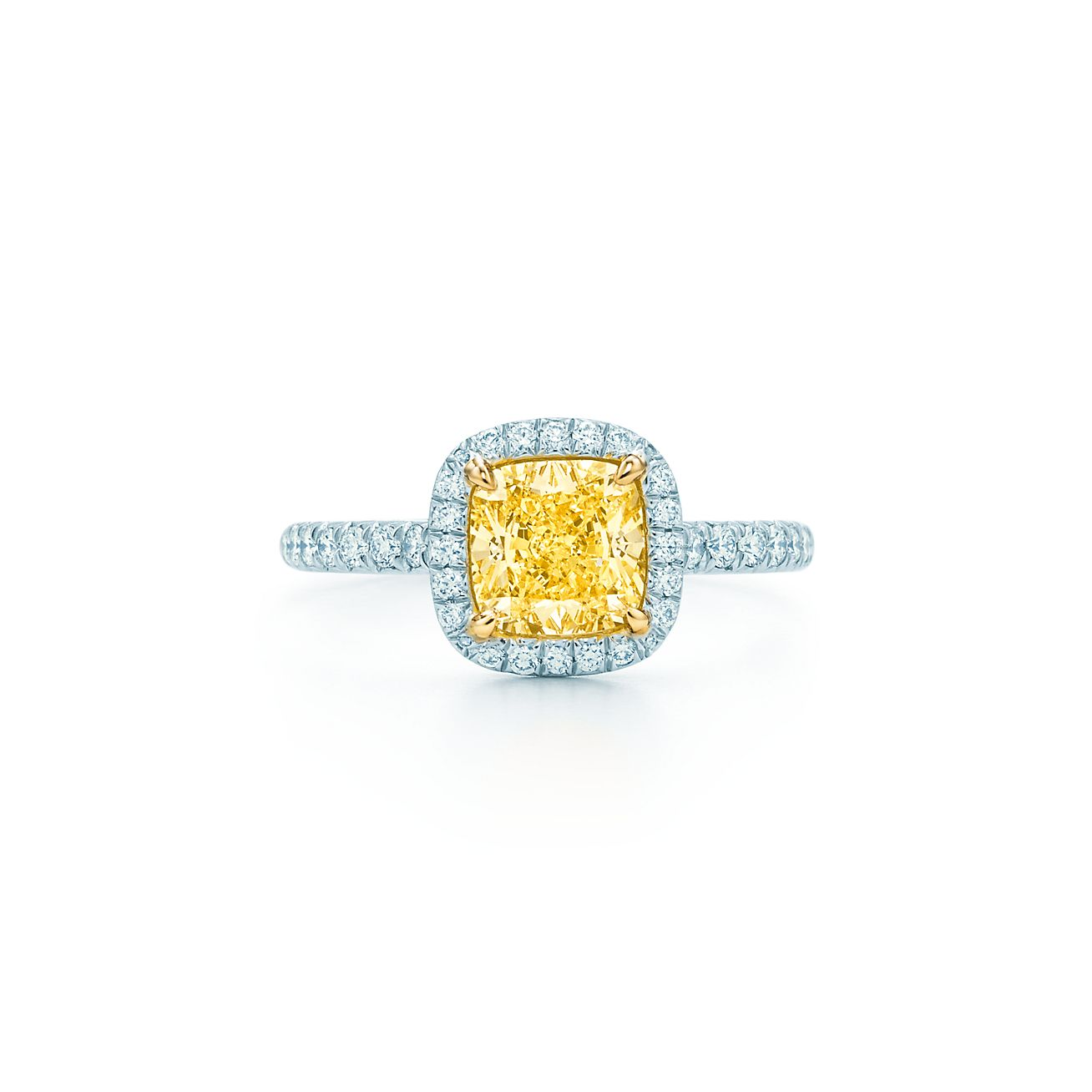 tiffany soleste yellow and white diamond ring in platinum