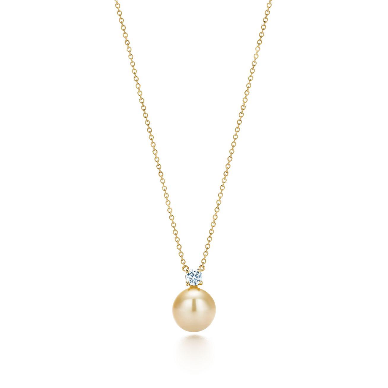 Tiffany South Sea pearl pendant in 18k gold with diamonds ...