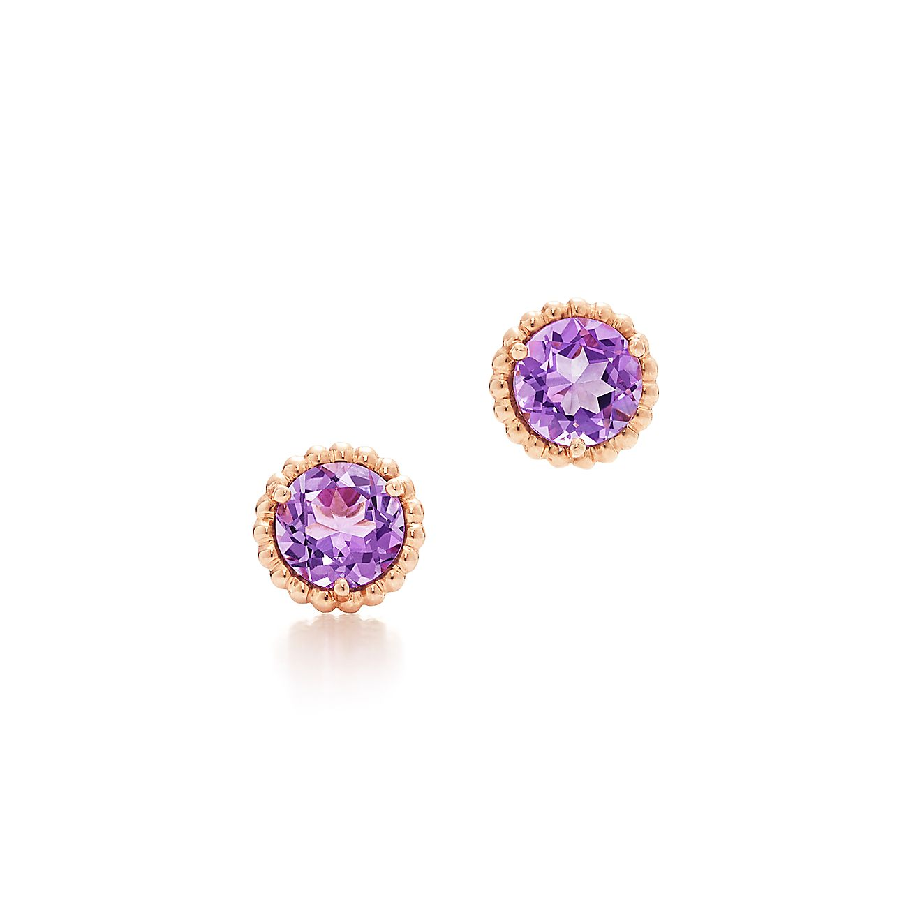 tiffany sparklers earrings in 18k rose gold with lavender amethysts tiffany co. Black Bedroom Furniture Sets. Home Design Ideas