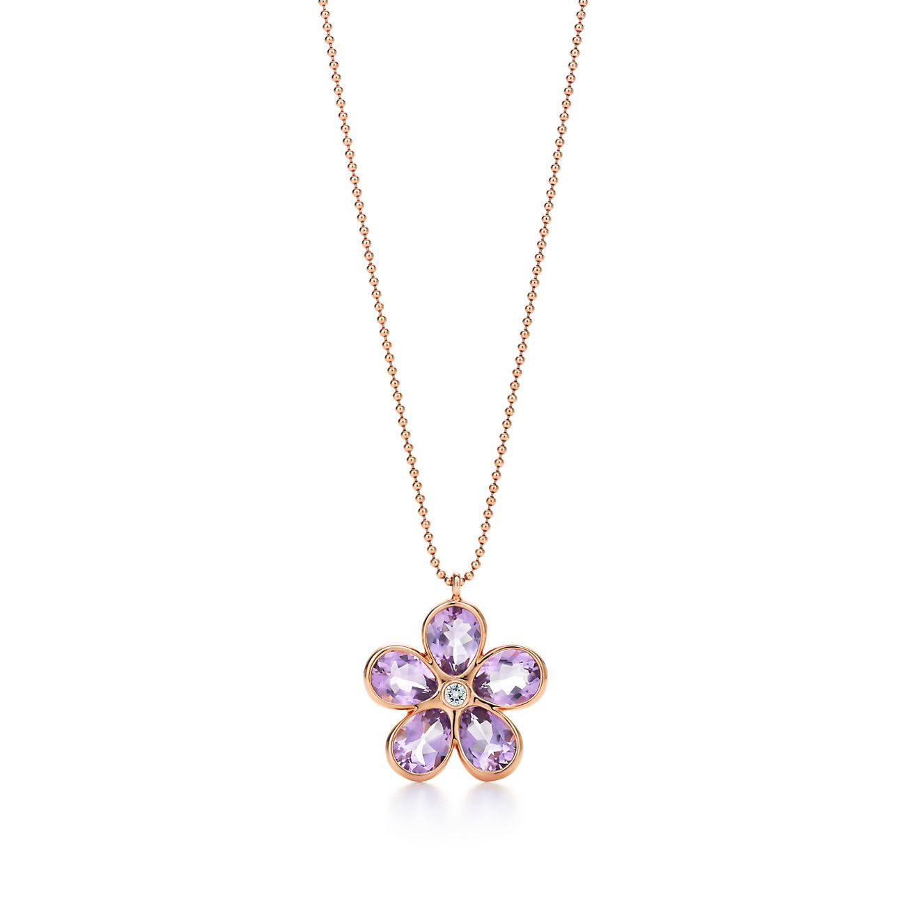 4fbd87251 ... tiffany sparklers flower pendant in 18k rose gold with amethysts and a  diamond. tiffany co; tiffany sparklers amethyst earrings ...