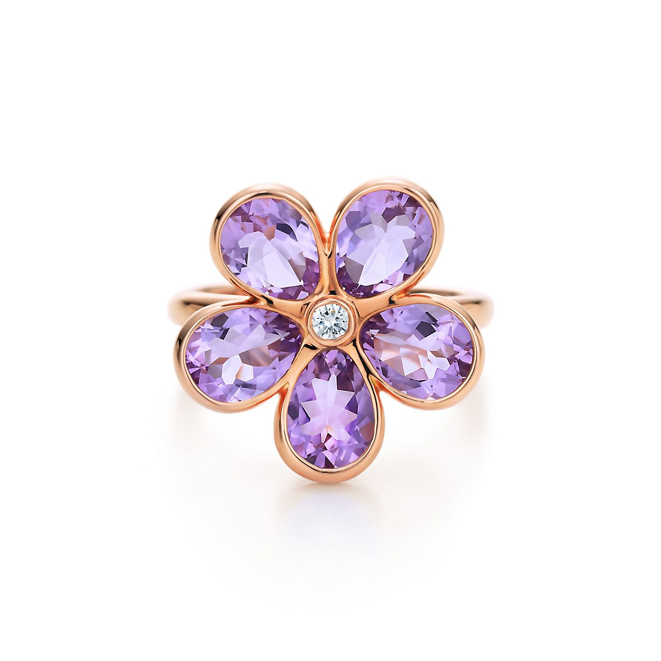Tiffany Sparklers flower ring in 18k rose gold with amethysts and a diamond