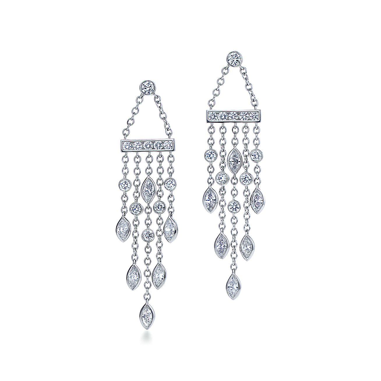 Tiffany Swing drop earrings of diamonds in platinum