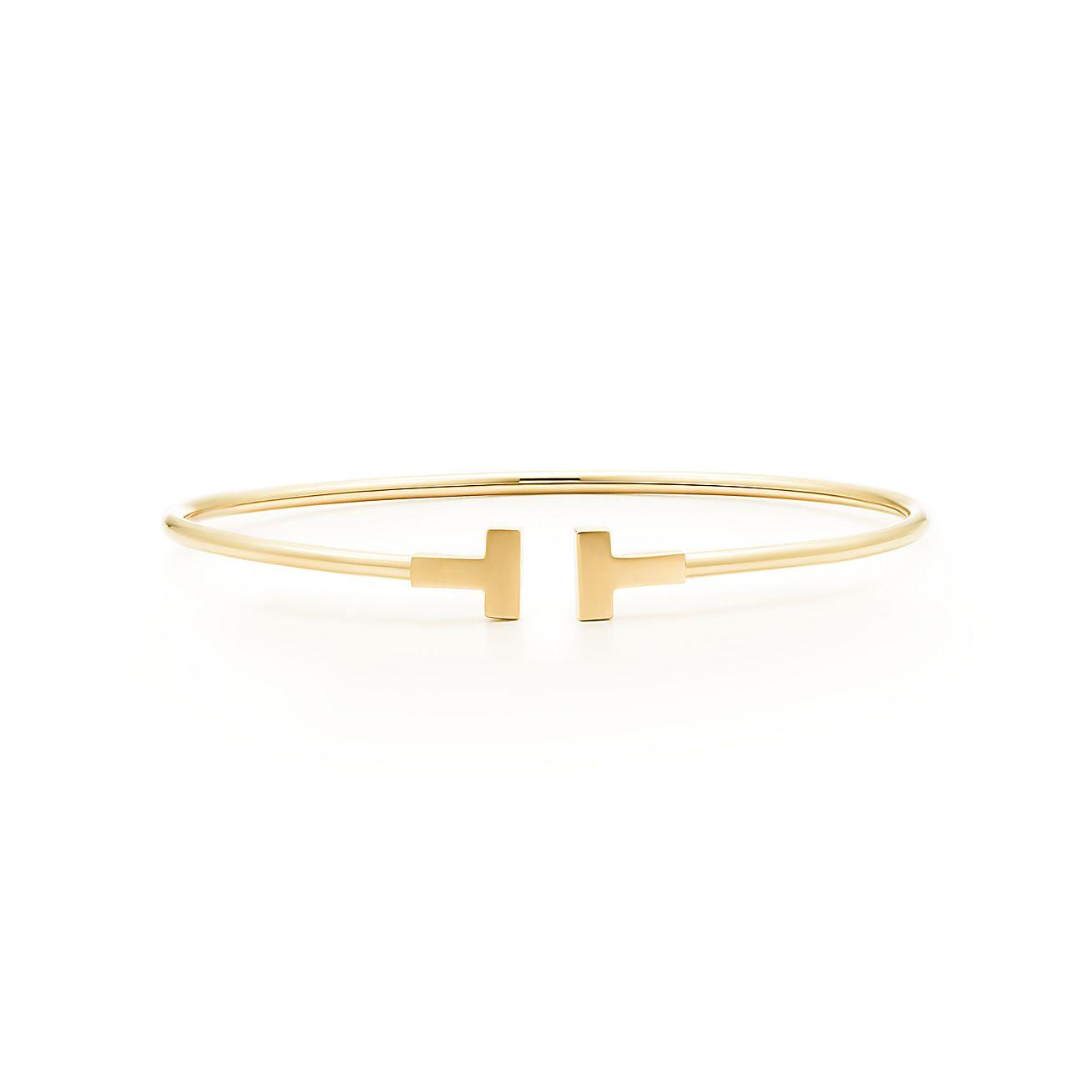 tiffany t narrow wire bracelet in 18k gold medium. Black Bedroom Furniture Sets. Home Design Ideas