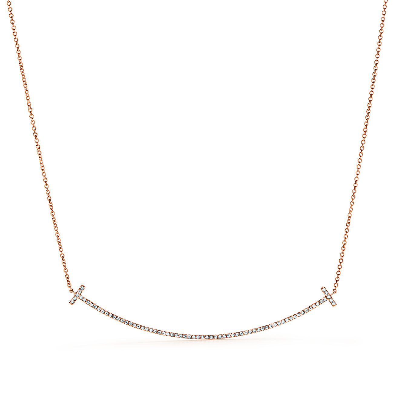 Tiffany T Smile Pendant In 18k Rose Gold With Diamonds