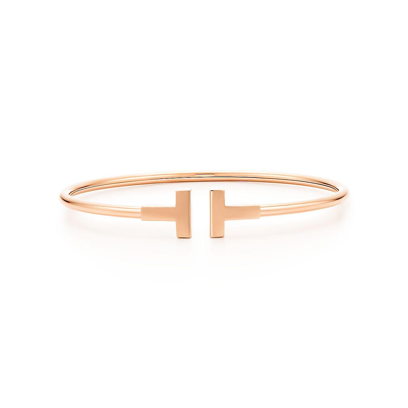 tiffany t wire bracelet in 18k rose gold medium. Black Bedroom Furniture Sets. Home Design Ideas