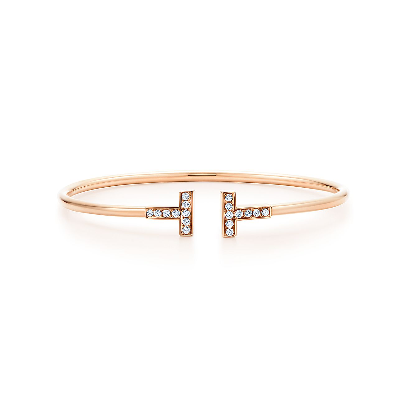 tiffany t wire bracelet in 18k rose gold with diamonds. Black Bedroom Furniture Sets. Home Design Ideas