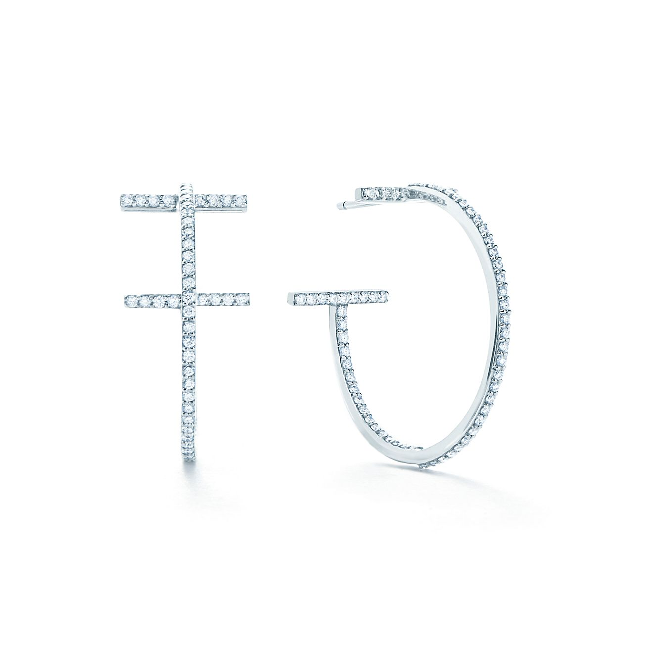 Tiffany T wire hoop earrings in 18k white gold with diamonds, medium ...