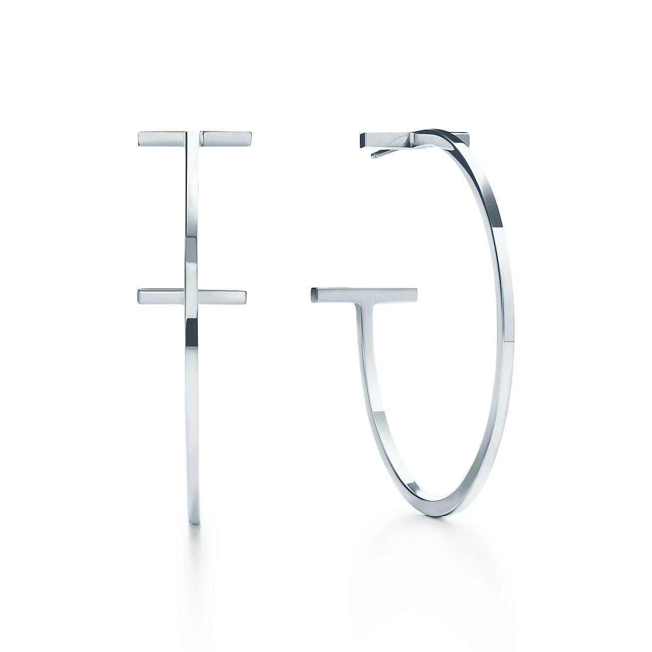 Tiffany T wire hoop earrings in sterling silver, large ...