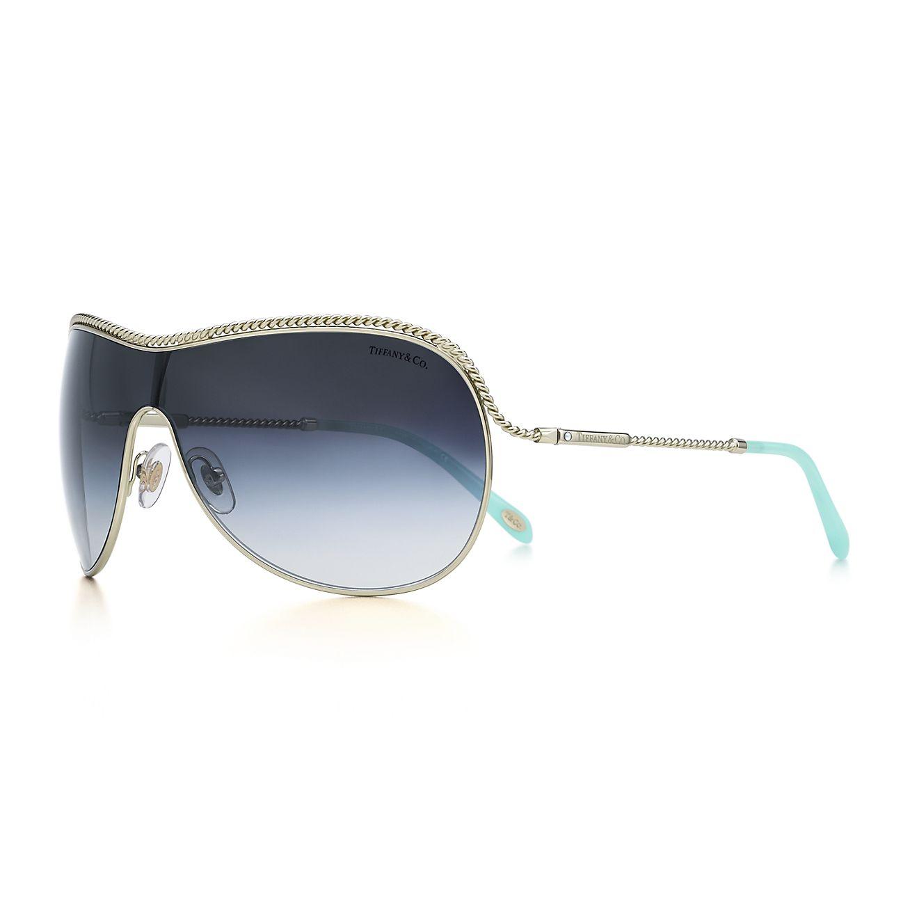 Tiffany Twist shield sunglasses in pale gold-colored metal ...