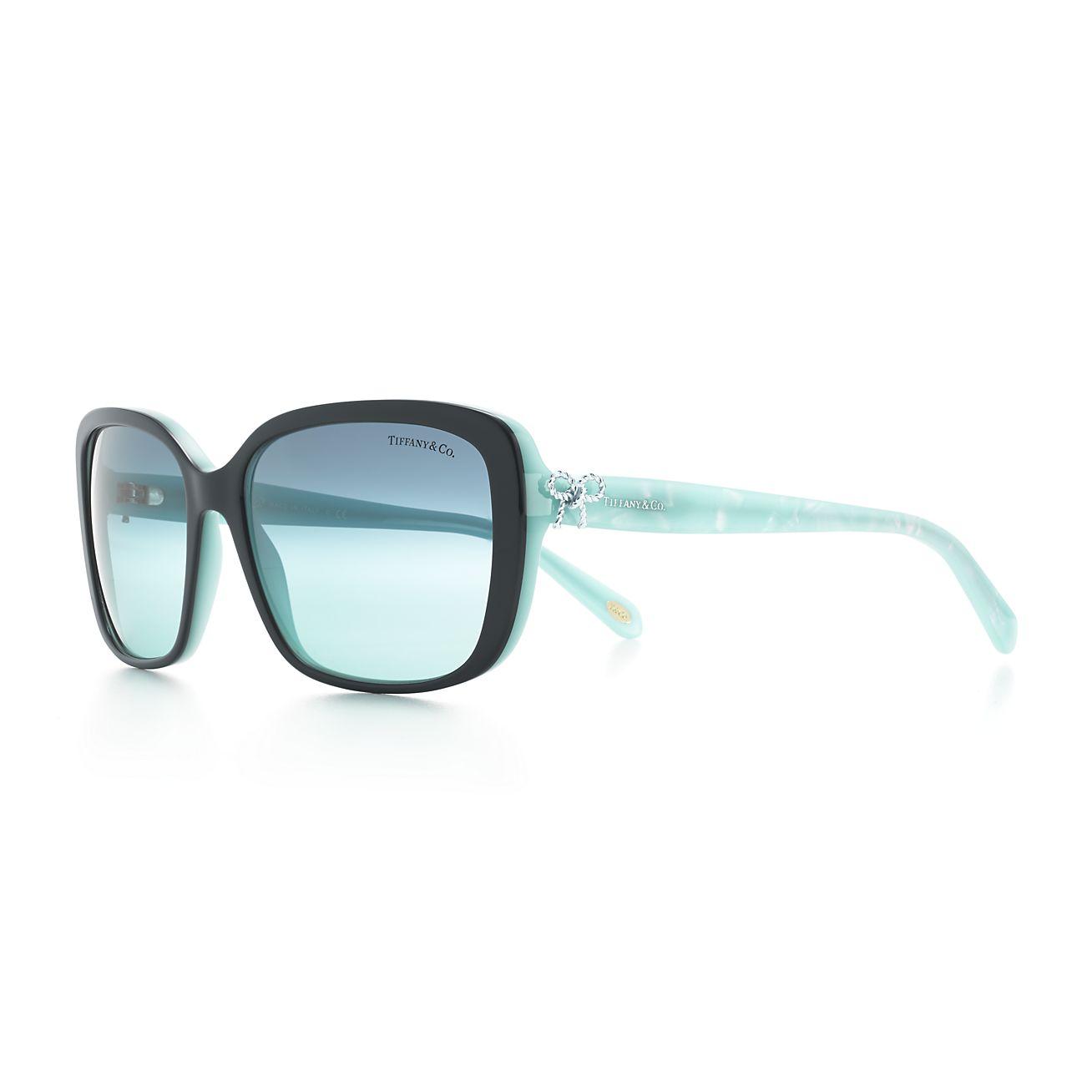 Tiffany Twist square bow sunglasses in black and Tiffany ...