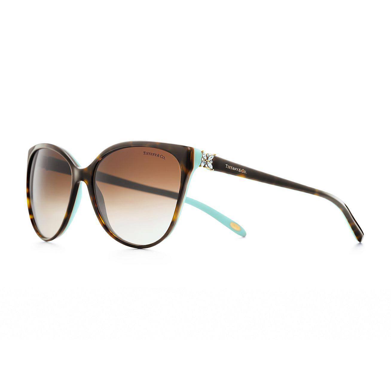 Tiffany Victoria™ Cat eye sunglasses in havana and Tiffany ...