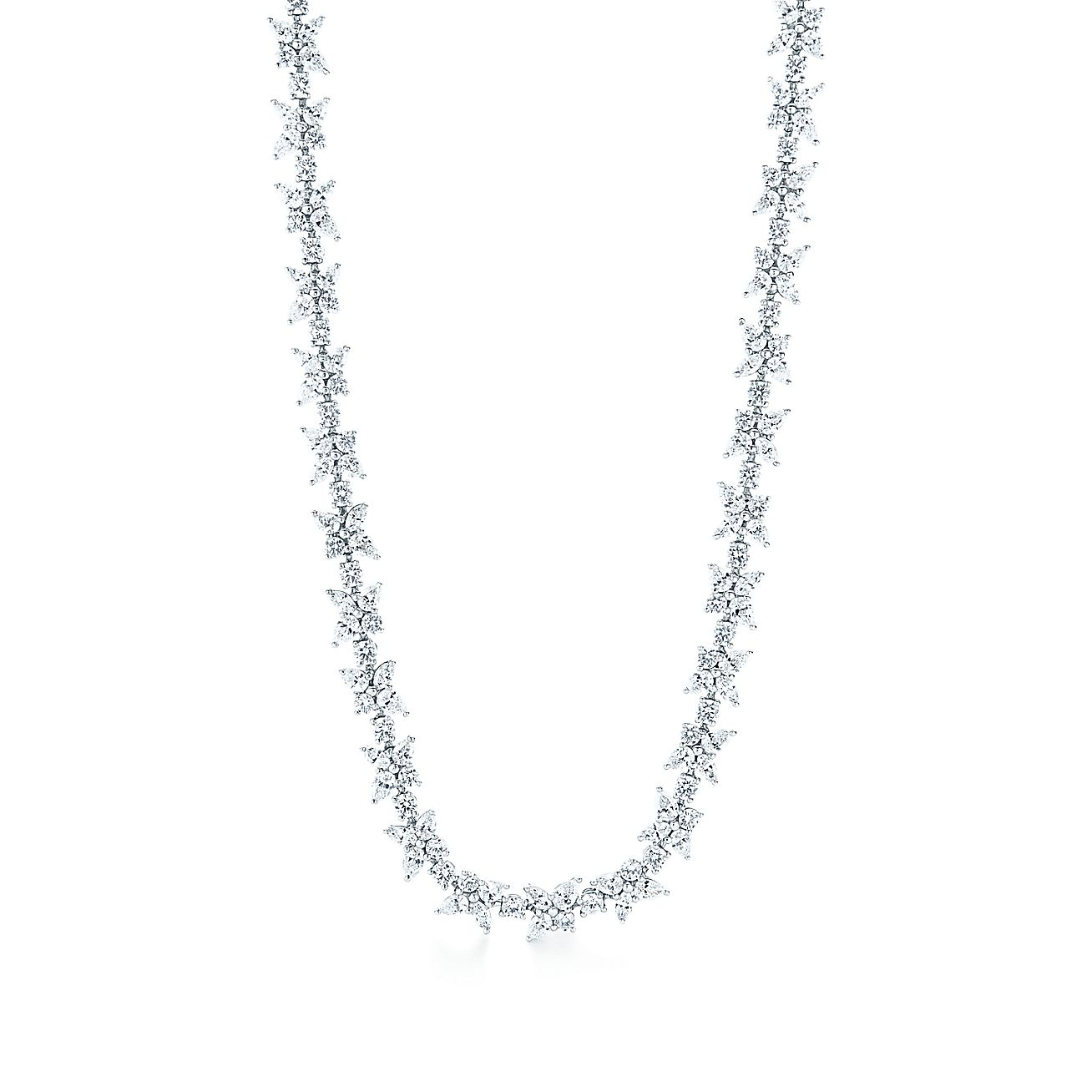 Tiffany Victoria® mixed cluster necklace in platinum with