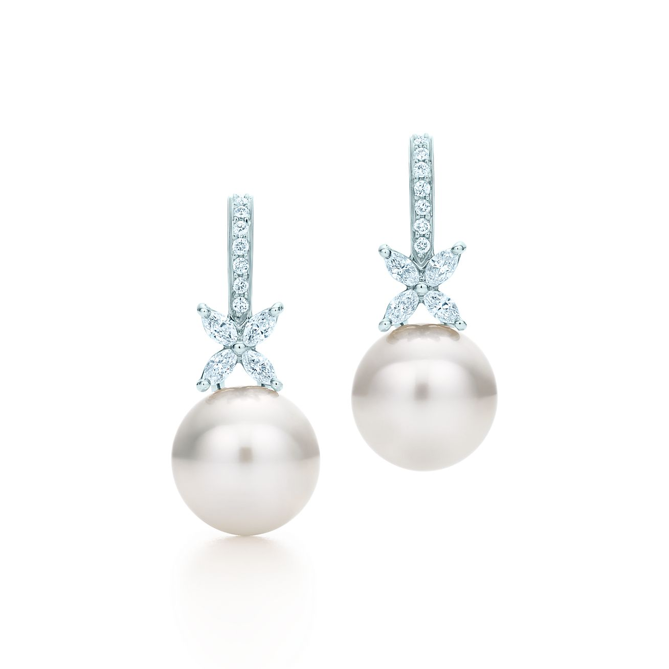 Tiffany Victoria®:pearl And Diamond<br>earrings