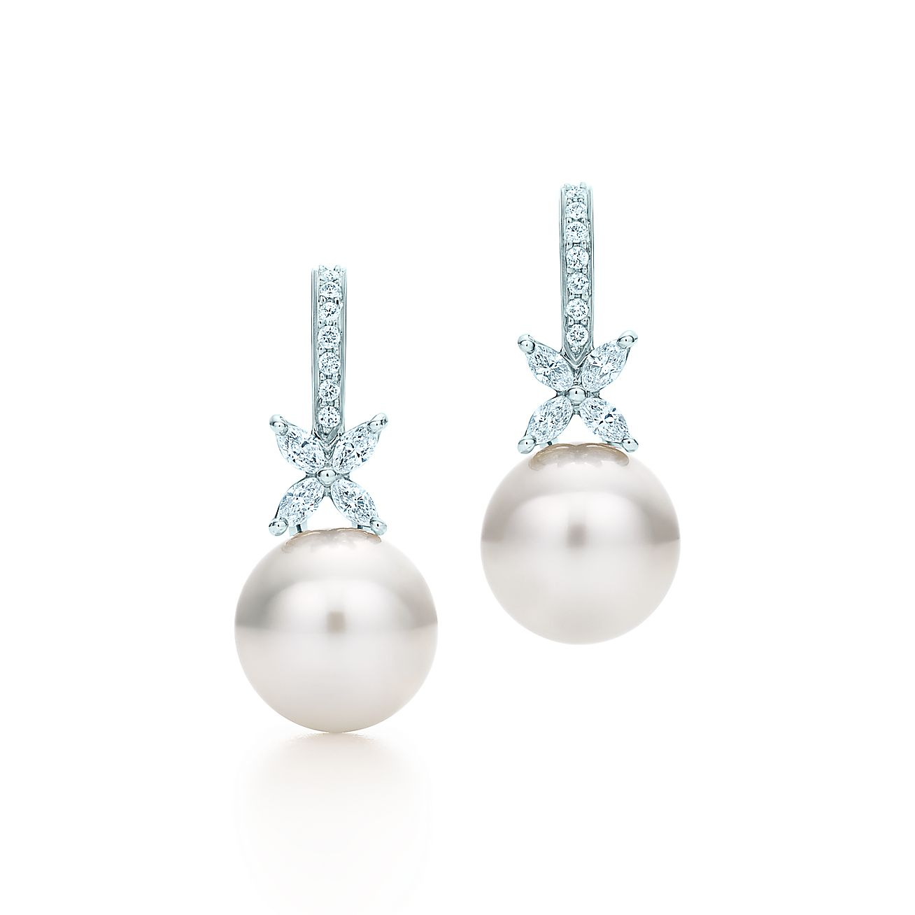 Tiffany Victoria® Earrings In Platinum With South Sea Pearls And Diamonds   Tiffany & Co