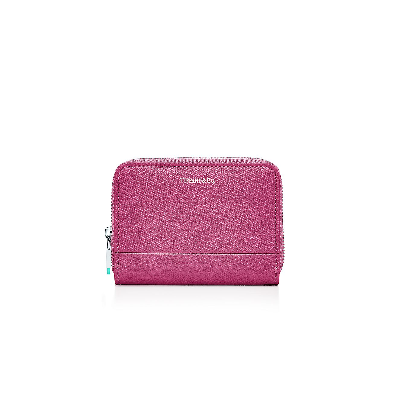 Zip card case in raspberry textured leather more colors for Tiffany business card case