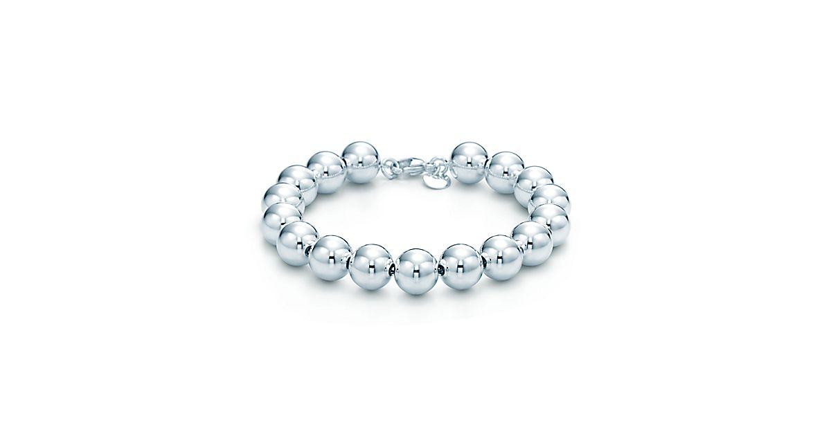 Bead bracelet in sterling silver, 7.5