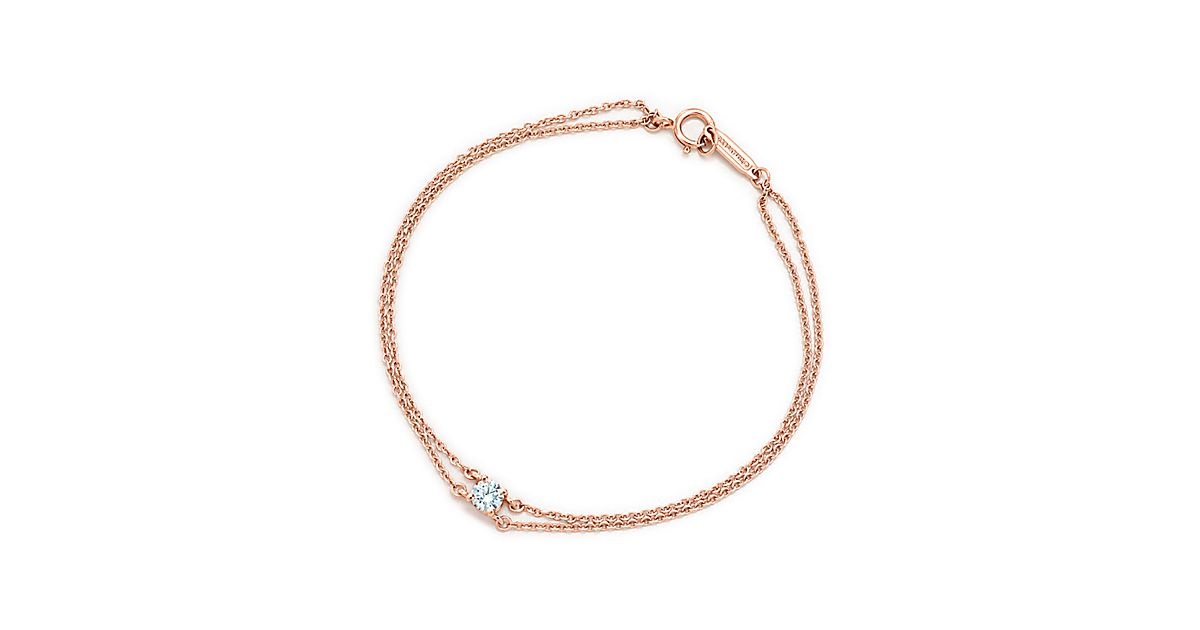 Bracelet Avec Diamant Solitaire Tiffany En Or Rose 18