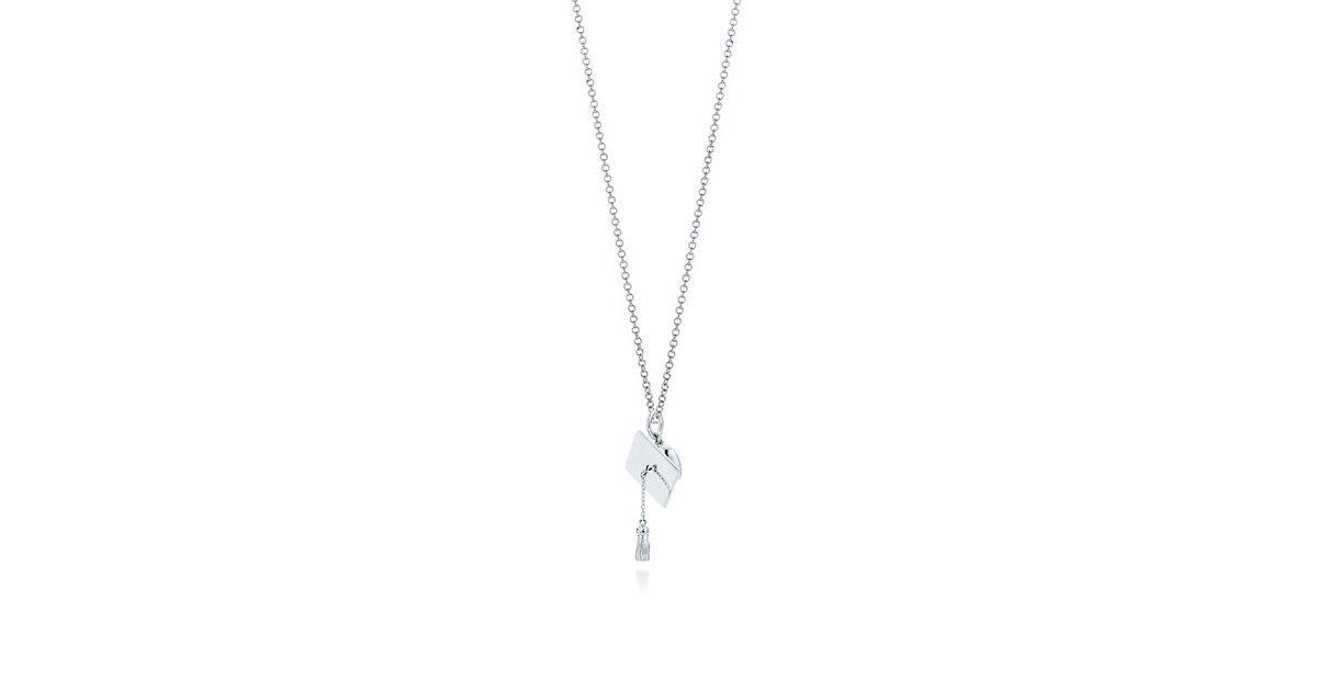 Cap And Tassel Charm In Sterling Silver On A Chain